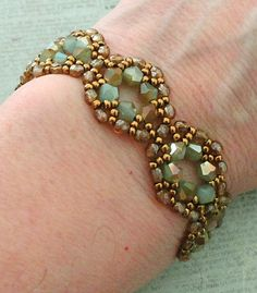 Linda's Crafty Inspirations: Bracelet of the Day: Moon Ring - Seafoam & Topaz