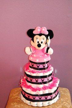 Minnie Mouse Diaper Cake by ericajmoore ohttp://media-cdn.pinterest.com/upload/13088655136816487_AVbQ7KVk_b.jpgn Etsy, $59.99