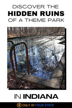 This abandoned island theme park in Indiana is accessible via a short hike and a walking bridge. The ruins include a swimming pool, now filled with debris, fountain, and several brick and concrete structures. Enjoy history on this local hiking trail in Charlestown State Park.   Things To Do   Abandoned Places   Creepy Ruins   Day Trip Ideas