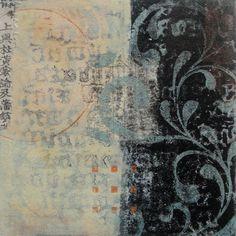 """Anne Moore, Savouring Stillness. - Monotypes, 10"""" x 10"""" block"""