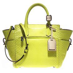 Reed Krakoff Mini Atlantique ($2,250) ❤ liked on Polyvore featuring bags, handbags, purses, bolsas, yellow, purse, python print handbag, yellow purse, mini handbags and snake print purse