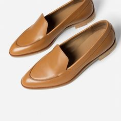 The Modern Loafer - Everlane. Size 9.5 probably. Either in the camel or black color