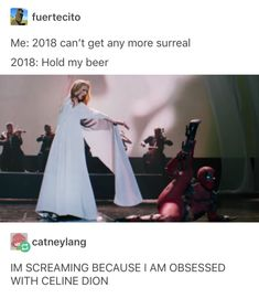 """oh my fucking god i watched this video at school w/ my friend,, she was like """"let's watch the celine dion deadpool vid"""" and i was like """"? Marvel Funny, Marvel Memes, Marvel Dc Comics, Marvel Avengers, Celine Dion, Marvel Universe, Hulk, Johnlock, Destiel"""