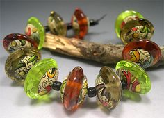 CACTUS KISS     Lampwork Glass Discs Beads Set by DonnaMillard