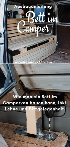 Campervan self-construction: The bed in the VW Transporter. life diy life diy beds life diy ford transit life diy how to build life diy ideas life diy interiors life diy projects life diy small Bus Camper, Camper Jacks, Mini Camper, Camper Trailers, Vw T5, Volkswagen Bus, Camping Box, Van Camping, Auto Camping