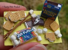Scrumptious S'more Board by birdielover on - American Girl Dolls Miniature Crafts, Miniature Food, Miniature Dolls, Miniature Houses, Crafts For Girls, Diy For Girls, Crea Fimo, Barbie Food, American Girl Crafts