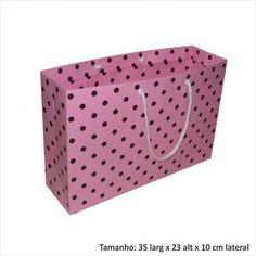 Sacola de papel para presentes rosa de bolinha marrom