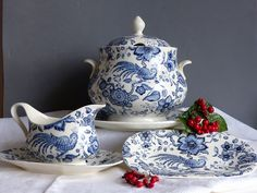"""Vintage Villeroy and Boch Soup Tureen """"Paradiso""""Vintage Soup Serving Set. Blue and White Soup Tureen Large Soup Bowl. German CHRISTMAS GIFT. by JadisInTimesPast on Etsy"""