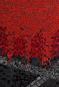 """I believe Brit has captured the essence of 21st century mosaic art, with photos of superb work which is new and cutting edge. I am deeply honored to have my work included in Mosaic: Finding Your Own Voice. ""All I See is Red"", is a visual response to war in general and the U.S. invasion of Iraq in particular."" - Virginia Gardner Featured on p. 136 of MOSAIC: FINDING YOUR OWN VOICE. Photo: Bill Moretz. Image shown with permission. PREVIEW THE BOOK & BUY IT HERE."