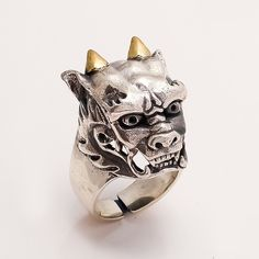 Sterling Silver Halloween Vampire Dracula Face Ring Golden Horns Men's Jewelry #Handmade #Skull #ValentineGifts