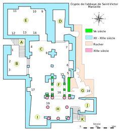 Abbaye Saint-Victor de Marseille (Crypte suite), 2): D: Chapelle St-André. E: Ancienne sacristie: (9: épitaphe Fortunatus et Volusianus, 10: sarco du Christ trônant, 11: sarco des brebis et des cerfs. 12: sarco de l'Anastasis. 13: couvercle de sarco à acrotères. 14: épitaphe païenne. F: Martyrium: 15: Vierge noire. 16: sarco de St-Cassien, 17: tombe des saints Chrysante de Darie. G: Chapelle St-Lazare: 18: sarco de saints Inocents. H: Chapelle St Blaise. J: Chapelle st Hermés. K: Ancien…
