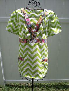 Very Cute Scrub Top  Chevron Green My top in about 5 years, plus a monogram