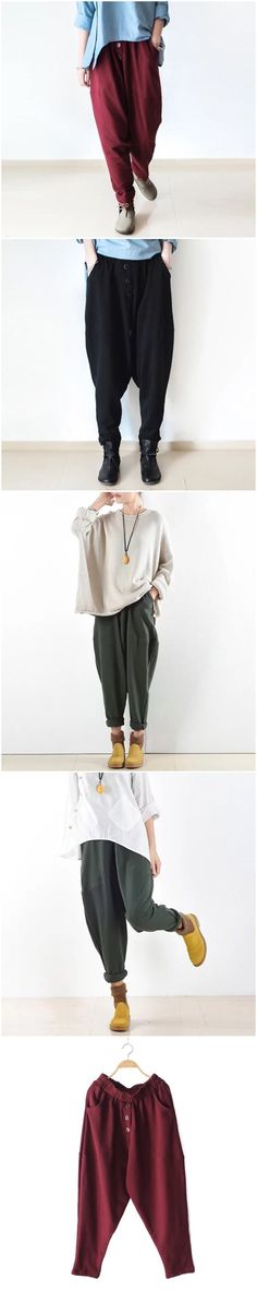 Cotton linen casual trousers for women