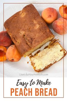This Delicious Peach Bread Recipe is quite easy to make. It is nice and soft with bits of peaches to bite into. The peaches are complimented well by vanilla and cinnamon sugar flavors. It's a wonderful way to enjoy summer's best peaches! Zucchini Bread Recipes, Quick Bread Recipes, Muffin Recipes, Easy Dinner Recipes, Sweet Recipes, Peach Bread, Butter Recipe, Sweet Bread, Peaches