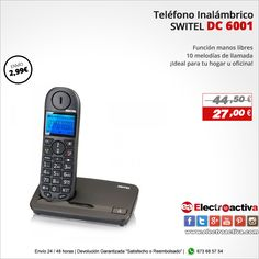¡Ideal para hogar u oficina! Teléfono SWITEL BELUGA DC 6001 http://www.electroactiva.com/switel-telefono-beluga-dc-6001-negro.html #Elmejorprecio #Chollo #Telefono #Electronica #PymesUnidas