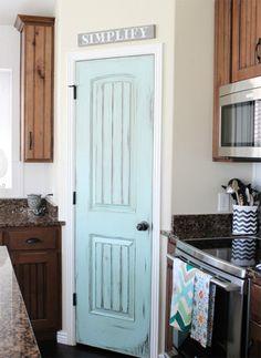 Aqua Door in Rustic Kitchen 8 Pretty Pantry Door Ideas That Showcase Your Storeroom as a Star