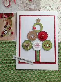 Oh Christmas Tree. Possibly use sizzix button die. Score background or emboss it.