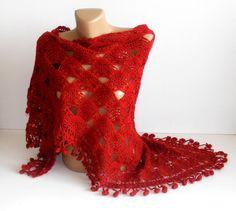 SALE Hand crocheted Shawlred shawluniquefor herchristmas by seno, $75.00