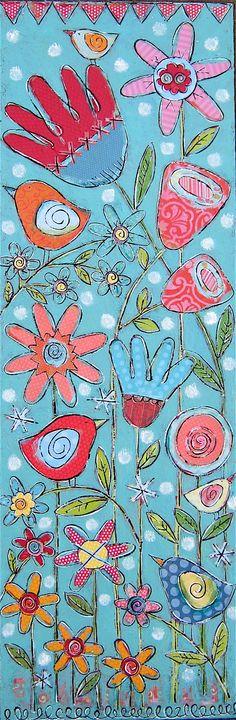 Gina McKinnis, 12x36, 2011 Doodle Designs, Visual Diary, Flower Art, Art Flowers, Cute Art, Doodle Art, Mixed Media Art, Art School, Art Boards