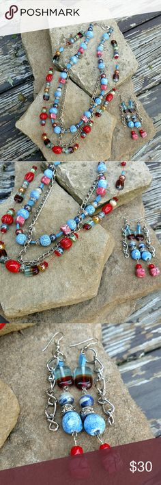 Handmade BOHO Style. Glass, Semi precious set One of a kind set. Made with semi precious stones and glass set. Handmade by myself. Designing jewelry for many years. New Jewelry