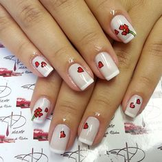 Nails French Manicure Designs Ongles 59 Ideas For 2019 New Nail Art Design, Valentine's Day Nail Designs, Bling Nails, Red Nails, Valentine Nail Art, Super Nails, Beautiful Nail Art, Holiday Nails, French Nails
