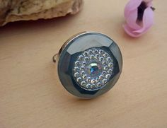 Handmade Ring DeCoRe Indian sapphire  Swarovski by TommyDark