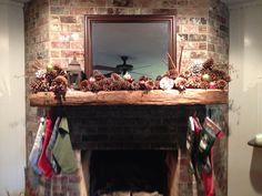 Easy Christmas mantel using pine cones