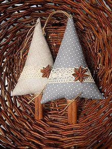 Dekorácie - Vianočné stromčeky škoricovo-badiánové /set 2ks/ - 7352430_