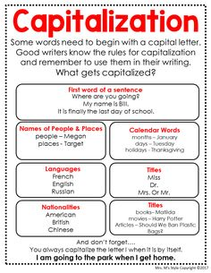 Best 12 Teach your students all the capitalization rules with these ready to print anchor charts. These grammar posters fit perfectly in your students writing journals and are a great reference tool for them during their independent writing. Grammar Posters, Grammar And Punctuation, Teaching Grammar, Grammar Lessons, Writing Lessons, Teaching Writing, Writing Journals, Grammar Anchor Charts, Writing Tips