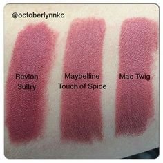 MAC Twig dupes :: Revlon Sultry & Maybelline Touch of Spice lipstick Maybelline Creamy Matte Lipstick, Revlon Matte Balm, Mac Lipstick Dupes, Satin Lipstick, Matte Lipsticks, Mac Dupes, Gloss Eyeshadow, Mac Chatterbox, Makeup Tips