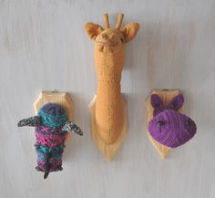 Set of safari trophies — textile trophy head with wooden wall plaque Cotton Medallion Handmade Taxidermy Giraffe Hippo Rhino Home decor OOAK - pinned by pin4etsy.com