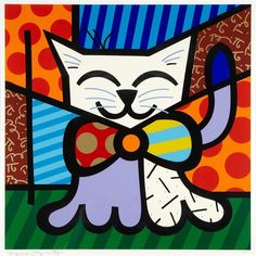 Quadro Romero Britto Gatinho - Loja de quadros decorativos-Arte Quadro