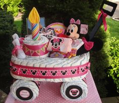 Minnie Mouse Wagon Diaper Cake www.facebook.com/DiaperCakesbyDiana Baby Shower Diapers, Baby Shower Cakes, Baby Shower Parties, Baby Shower Themes, Baby Shower Decorations, Baby Shower Gifts, Baby Gifts, Disney Diaper Cake, Bebe Shower