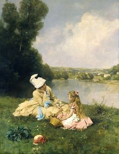 A mother and daughter rest by the river after picking spring flowers. Painting by Ferdinand Heilbuth (1826-1889) French Painter