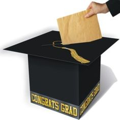 Graduation Cap Black Gift Box-Great for the gift table. I am going to use this for inspiration. This one is too small.