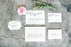 Top five wedding invitation trends on the blog - one being Calligraphy! Invitation suite by Paper Girl. Styling by Ever Something. Photo by Watson & Payne. #bridesofoklahoma #calligraphy #weddinginvitations #trends #wedding #oklahoma
