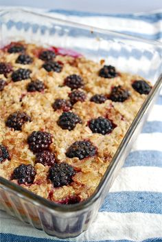 Perfect for #breakfast baked oatmeal with blackberries and bananas.