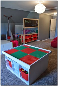 We did the Ikea Lego table. Now i like the grocery play. IKEA diy Lego table and grocery store pretend play Table Lego, Diy Table, Train Table Ikea, Lego Table With Storage, Lego Room, Toy Rooms, Table Games, Toy Storage, Storage Organization