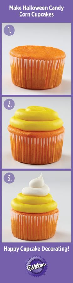 Cute Candy Corn Cupcakes perfect for Halloween from @Wilton Cake Decorating Cake Decorating