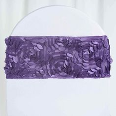 10 Purple Satin Rosettes on Stretchable Spandex Chair Sashes. Each order is for 10 stretchable chair sashes. Sashes would fit folding and banquet chairs. wide x wide on Stretchable spandex. Wedding Chair Sashes, Wedding Sash, Wedding Chairs, Wedding Shoes, Lavender Wedding Decorations, Chair Ties, Chair Backs, Floral Tablecloth, Rainbow Wedding