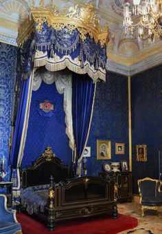 The bedroom of Queen Maria Pia. Ajuda Palace. Portugal.<3