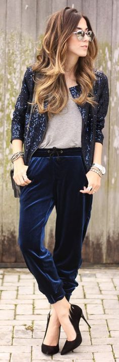 Black Sequin Jacket Grey Tee Velvet Jogger Pants by Fashion Coolture