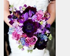 Lindsey's bouquet - change cool water roses for white ranunuculus and blue for white add bear or lily grass loops and brown fern curls@lship1
