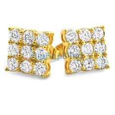 d9bf57d48 Triple Diamond CZ Gold Bling Bling Earrings Custom Gold Micro Pave Earrings  Real Diamond Earrings,