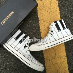 best service 7df97 38627 Custom Painted Piano Music Lover Gift Sneakers, Personalized Handpainted  Piano Keys Shoes, Custom Piano Teacher Player Gift Converse