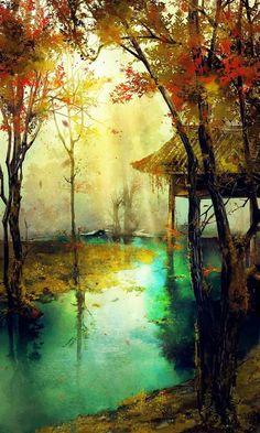 Chinese landscape illustration art of animation 35 New Ideas Concept Art Landscape, Fantasy Art Landscapes, Landscape Art, Landscape Paintings, Chinese Landscape, Art Abstrait, Anime Scenery, Watercolor Landscape, Asian Art