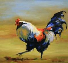 Rooster, Oil Painting Portrait, Original Rooster Oil Painting, Chicken Painting Chicken Art, small painting in Gold Frame Gift Item Paintings I Love, Small Paintings, Large Painting, Painting Frames, Original Paintings, Oil Paintings, Rooster Painting, Rooster Art, Chicken Painting