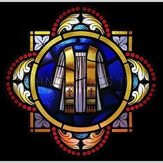 A robe and a stole are depicted in stained glass art. Stained Glass Church, Stained Glass Paint, Stained Glass Windows, Christian Symbols, Christian Art, Church Windows, Glass Artwork, Leaded Glass, Recycled Art