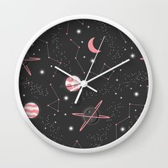 """Universe with planets and stars seamless pattern, cosmos starry night sky 007"" Wall Clock by bluelela. Worldwide shipping available at Society6.com. Just one of millions of high quality products available. #universe #galaxy #stars #planets #art #design #pink #pattern #midcentury modern  Disclaimer: This is an affiliate link, which means that any purchases made through this link may earn me a small percentage of the purchase price from Society6. There is no difference in price to the…"