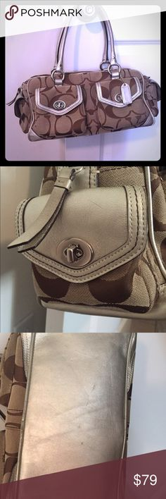"""Coach purse Coach purse. EUC. Authentic. 16""""W X 7"""" tall X 8"""" deep. Strap drop is 8"""". Only imperfections are shown in pics. Few smudges on bottom. Very clean. Accepting offers. Bags"""